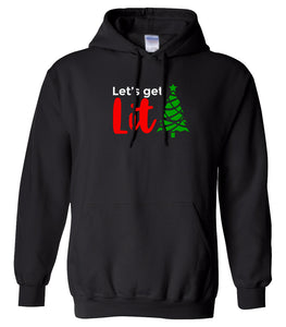 black lets get lit Christmas hooded sweatshirt