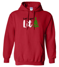 Load image into Gallery viewer, red lets get lit Christmas hooded sweatshirt