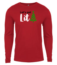 Load image into Gallery viewer, red lets get lit Christmas shirt for Men