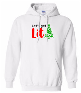 white lets get lit Christmas hooded sweatshirt