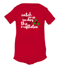 Load image into Gallery viewer, red mistletoe baby Christmas onesie