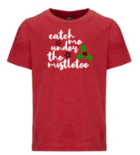 Load image into Gallery viewer, red mistletoe youth kids Christmas t shirt