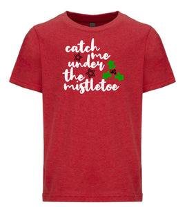 red mistletoe youth kids Christmas t shirt
