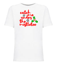 Load image into Gallery viewer, white mistletoe youth kids Christmas t shirt