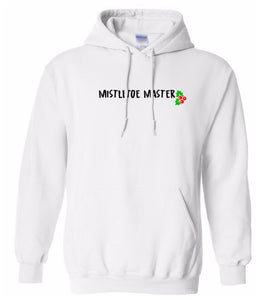 white mistletoe master Christmas hooded sweatshirt
