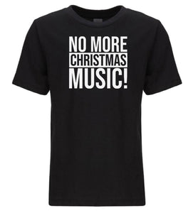 black no more music youth kids Christmas t shirt