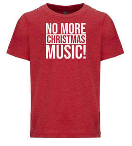 red no more music youth kids Christmas t shirt