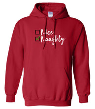 Load image into Gallery viewer, red naughty or nice Christmas hooded sweatshirt