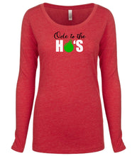 Load image into Gallery viewer, red ode to ho's long sleeve women's Christmas t shirt