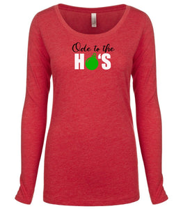red ode to ho's long sleeve women's Christmas t shirt