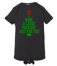Load image into Gallery viewer, black package baby Christmas onesie