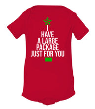 Load image into Gallery viewer, red package baby Christmas onesie