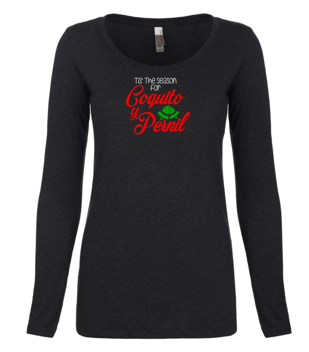 black coquito and pernil long sleeve women's Christmas t shirt
