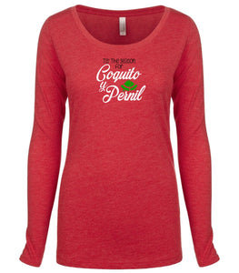 red coquito and pernil long sleeve women's Christmas t shirt