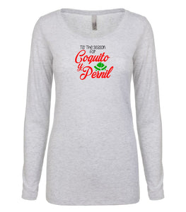 white coquito and pernil long sleeve women's Christmas t shirt