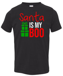 black Santa's Boo toddler Christmas t shirt
