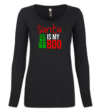 Load image into Gallery viewer, black Santa's Boo long sleeve women's Christmas t shirt