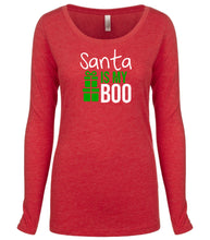 Load image into Gallery viewer, red Santa's Boo long sleeve women's Christmas t shirt