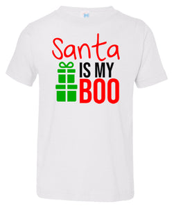 white Santa's Boo toddler Christmas t shirt