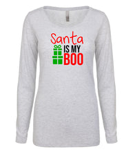 Load image into Gallery viewer, white Santa's Boo long sleeve women's Christmas t shirt