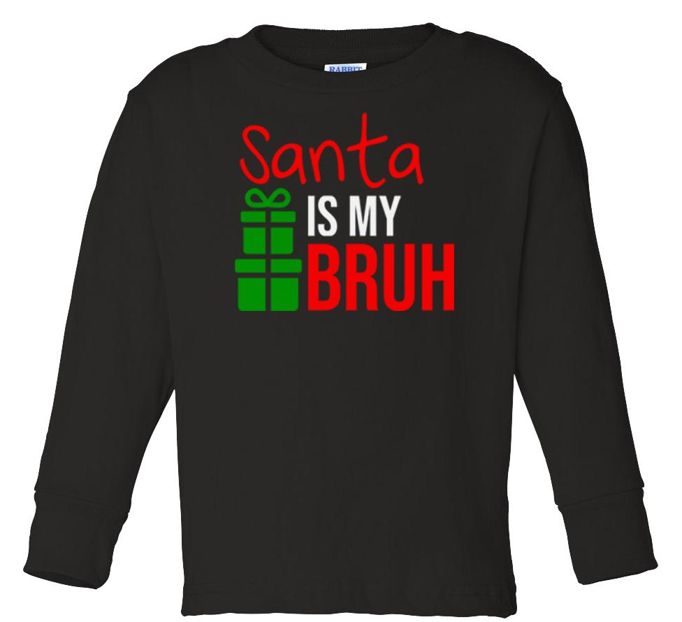 black Santa's bruh long sleeve toddler Christmas t shirt