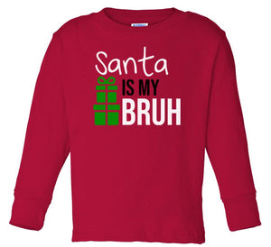 red Santa's bruh long sleeve toddler Christmas t shirt