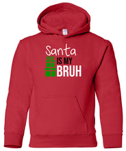 Load image into Gallery viewer, red Santa's bruh youth kids hooded Christmas sweatshirt hoodie
