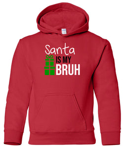 red Santa's bruh youth kids hooded Christmas sweatshirt hoodie
