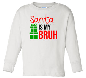 white Santa's bruh long sleeve toddler Christmas t shirt