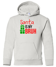 Load image into Gallery viewer, white Santa's bruh youth kids hooded Christmas sweatshirt hoodie