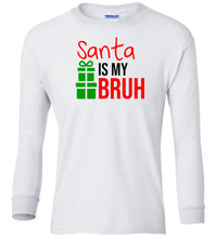 Load image into Gallery viewer, white Santa's Bruh Christmas long sleeve t shirt