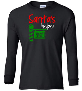 black Santa's Helper Christmas long sleeve t shirt