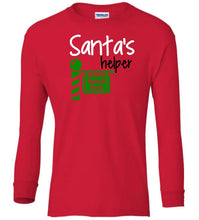Load image into Gallery viewer, red Santa's Helper Christmas long sleeve t shirt