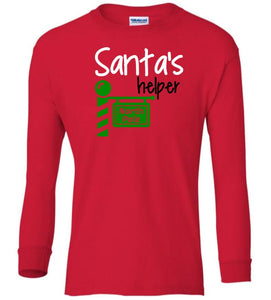 red Santa's Helper Christmas long sleeve t shirt