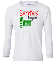 Load image into Gallery viewer, white Santa's Helper Christmas long sleeve t shirt