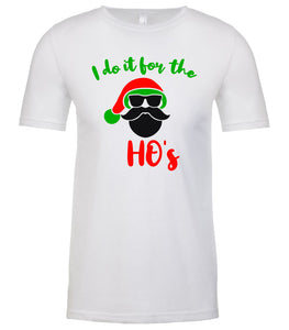 white Santa's Ho's Christmas t shirt for men