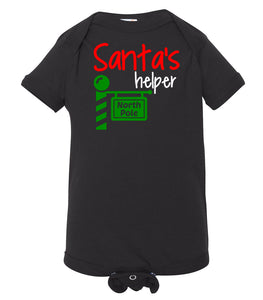 black Santa's helper baby Christmas onesie