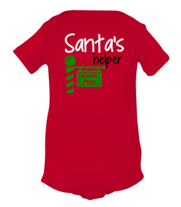 red Santa's helper baby Christmas onesie