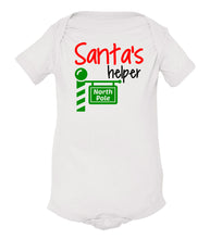 Load image into Gallery viewer, white Santa's helper baby Christmas onesie