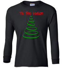 Load image into Gallery viewer, black tis the season Christmas long sleeve t shirt