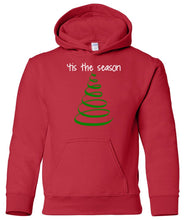 Load image into Gallery viewer, red tis the season youth kids hooded Christmas sweatshirt hoodie