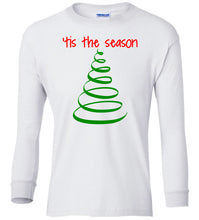 Load image into Gallery viewer, white tis the season Christmas long sleeve t shirt