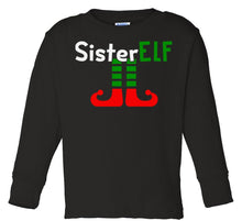 Load image into Gallery viewer, black sister elf long sleeve toddler Christmas t shirt