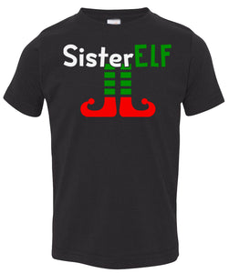 black sister elf toddler Christmas t shirt