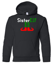 Load image into Gallery viewer, black sister elf youth kids hooded Christmas sweatshirt hoodie
