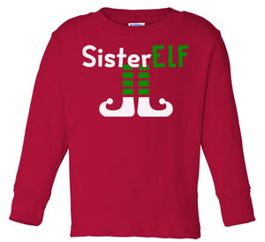red sister elf long sleeve toddler Christmas t shirt
