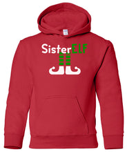 Load image into Gallery viewer, red sister elf youth kids hooded Christmas sweatshirt hoodie