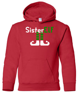 red sister elf youth kids hooded Christmas sweatshirt hoodie