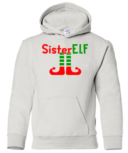 white sister elf youth kids hooded Christmas sweatshirt hoodie