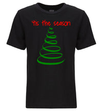 Load image into Gallery viewer, black tis the season youth kids Christmas t shirt